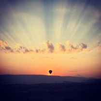 Sunrise view from a balloon